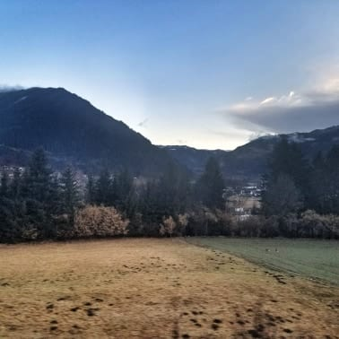 Scenery from the overnight train from Rome to Vienna at sunrise