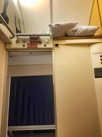 Inside the sleeper compartment on the overnight train from Rome to Vienna
