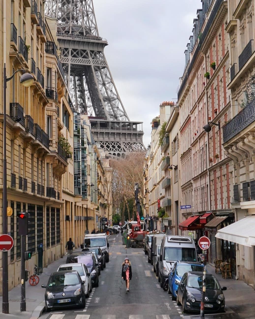 Busy Rue de Montessuy with the Eiffel Tower in the background