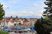 Sibiu, Romania with Carpathian mountains in the background
