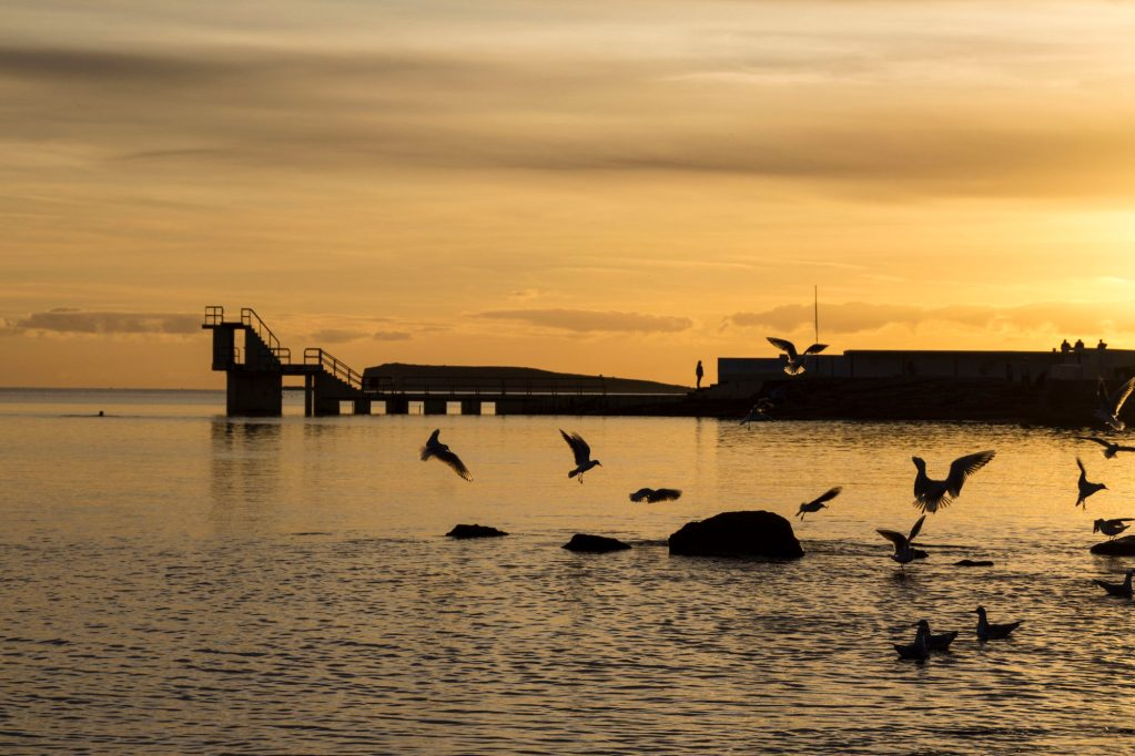 Salthill, Galway, at sunset