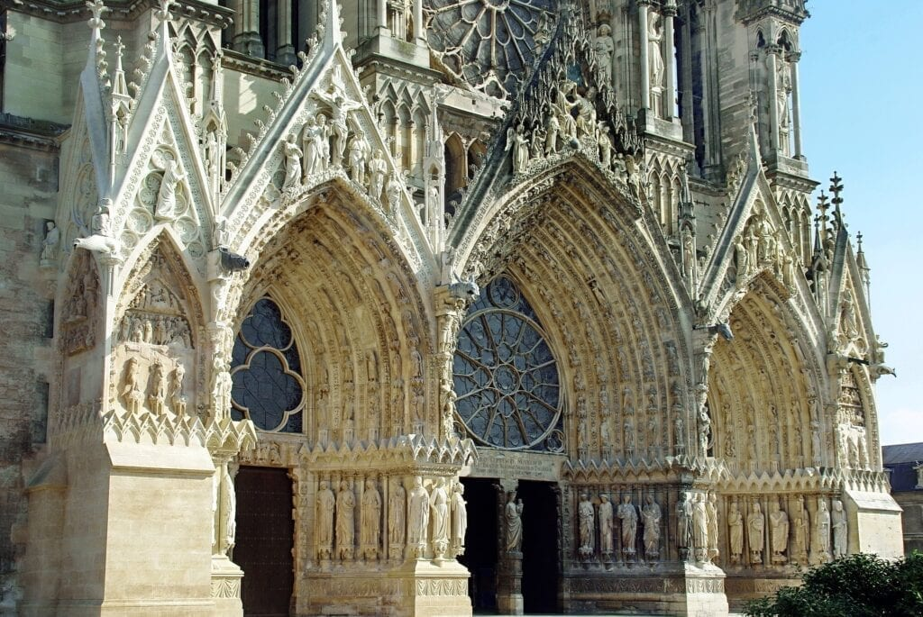 Intricate details of the outer façade of Reims Cathedral (Notre-Dame de Reims).