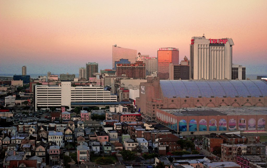 Atlantic City Skyline at sunset, an exciting day trip from NYC.