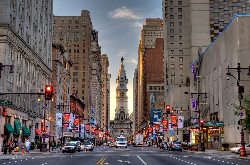 Philadelphia streets with traffic, a doable day trip from New York.