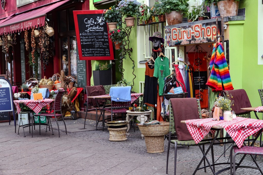 Eclectic Kreuzberg neighborhood in Berlin with quirky, colorful shops and cafes.