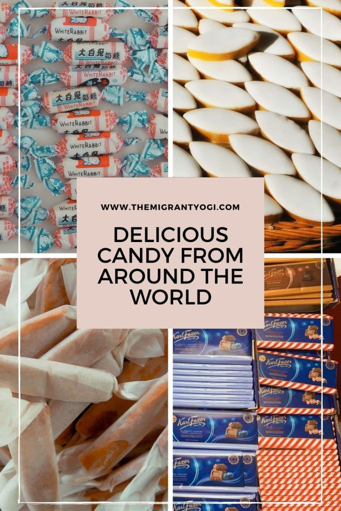 Pinterest graphic depicting 4 different photos of candies with text 'delicious candy from around the world'