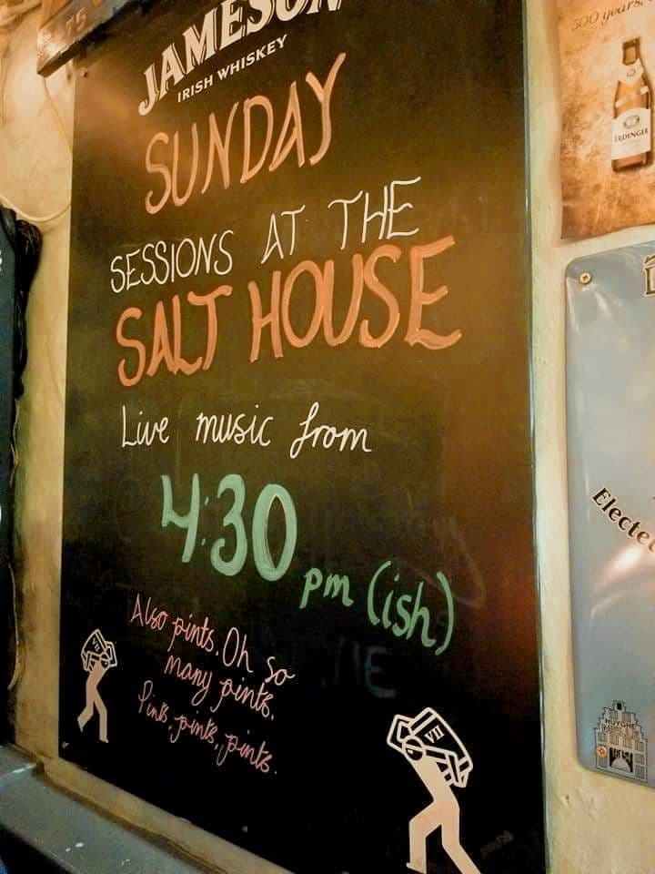 Sign outside of the Salt House in Galway advertising live music