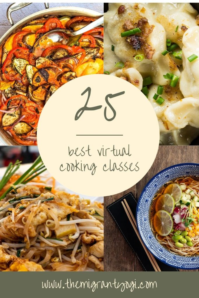 Pinterest graphic - 25 of the best virtual cooking classes.