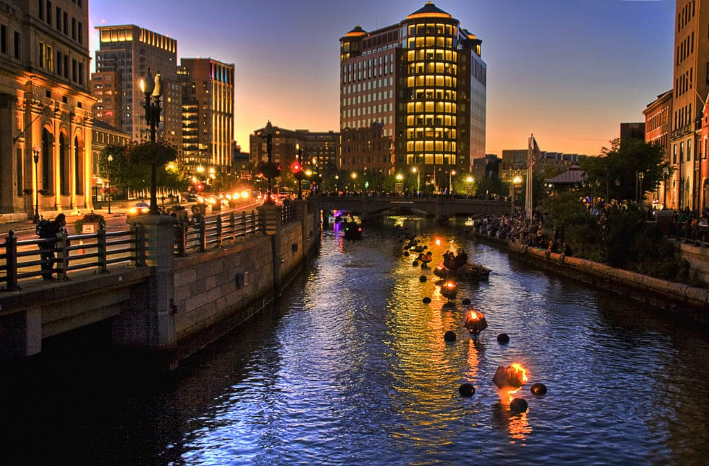 Providence waterfire at sunset, an amazing event to see on a day trip from NYC.