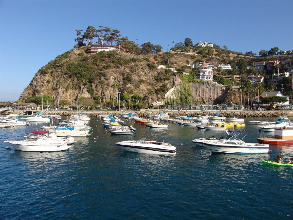 Boats docked outside the seaside town of Avalon on Catalina Island