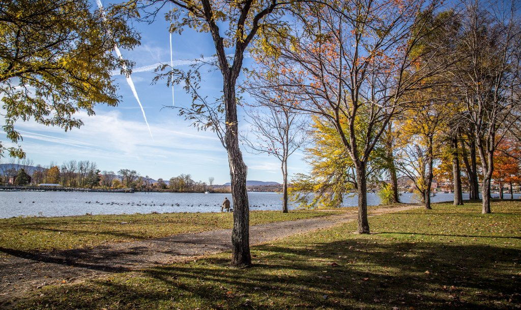 Park with shaded trees in Beacon, NY, one of the easiest day trips from New York City.