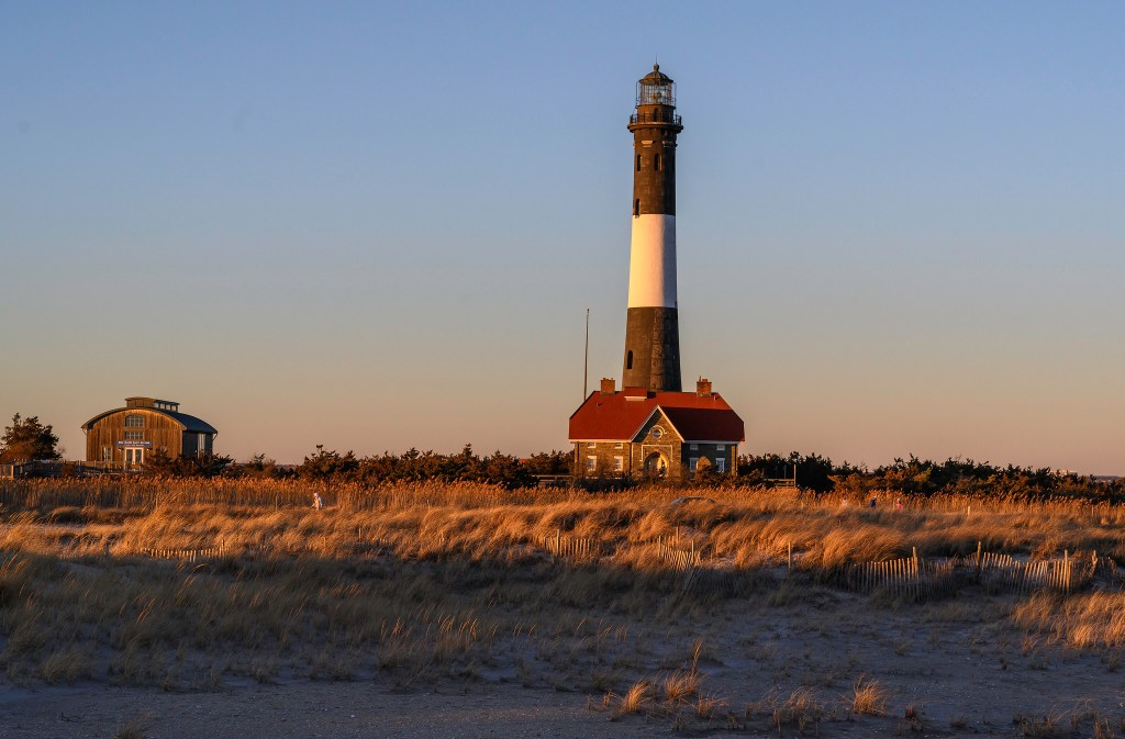 Lighthouse at Fire Island, NY during dusk, a great day trip from NYC