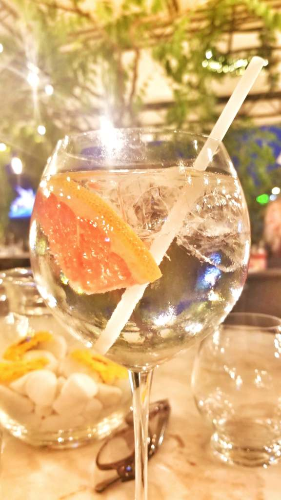 Close-up of a gin and tonic in a wine glass with lots of ice and a slice of pink grapefruit.
