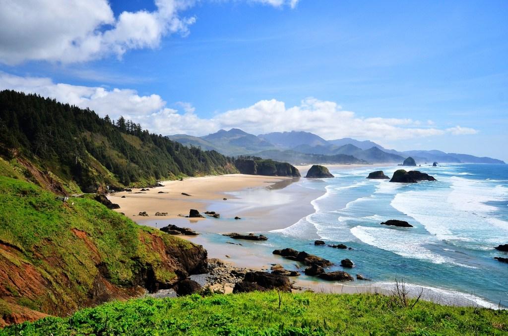 Pacific Northwest Coast in Oregon, USA with waves crashing on beach.