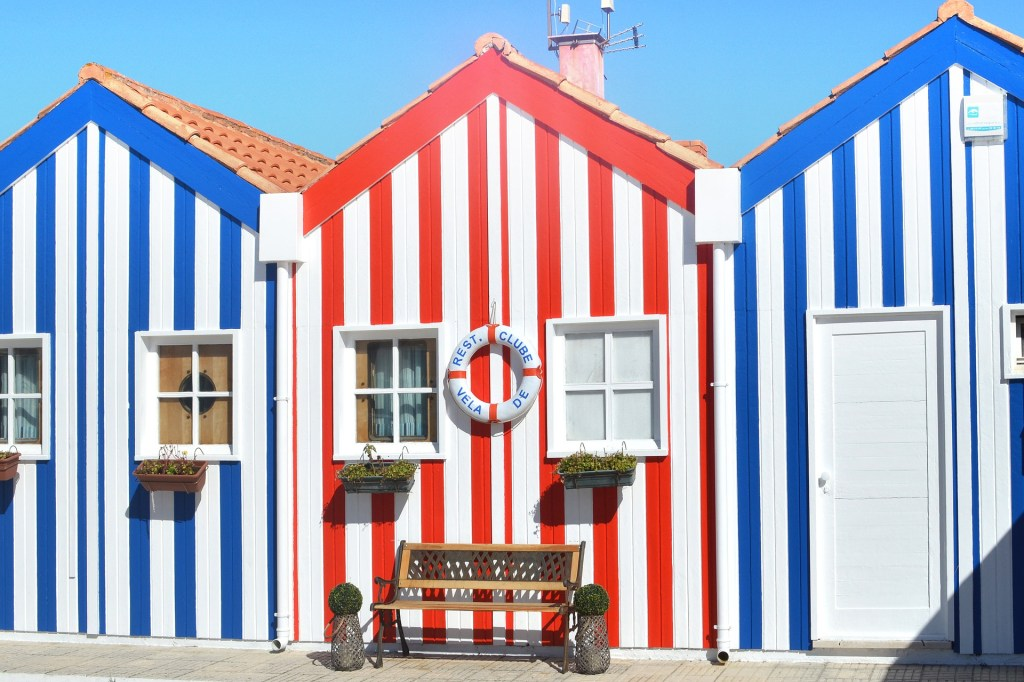 Striped colored buildings in Aveiro, Portugal