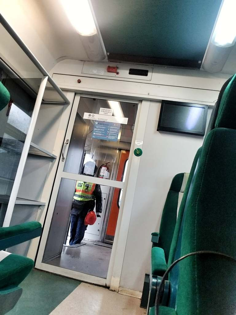 Border control agent getting on the train at the Hungarian-Romanian border