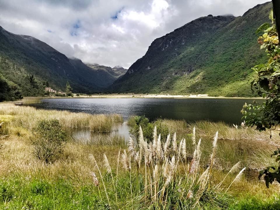 Lake and mountains in Cajas National Park, Ecuador