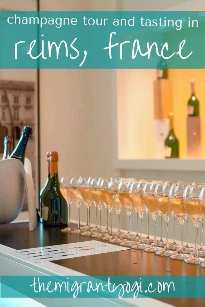Pinterest graphic: Champagne glasses lined up with text: Champagne Tasting in Reims, France