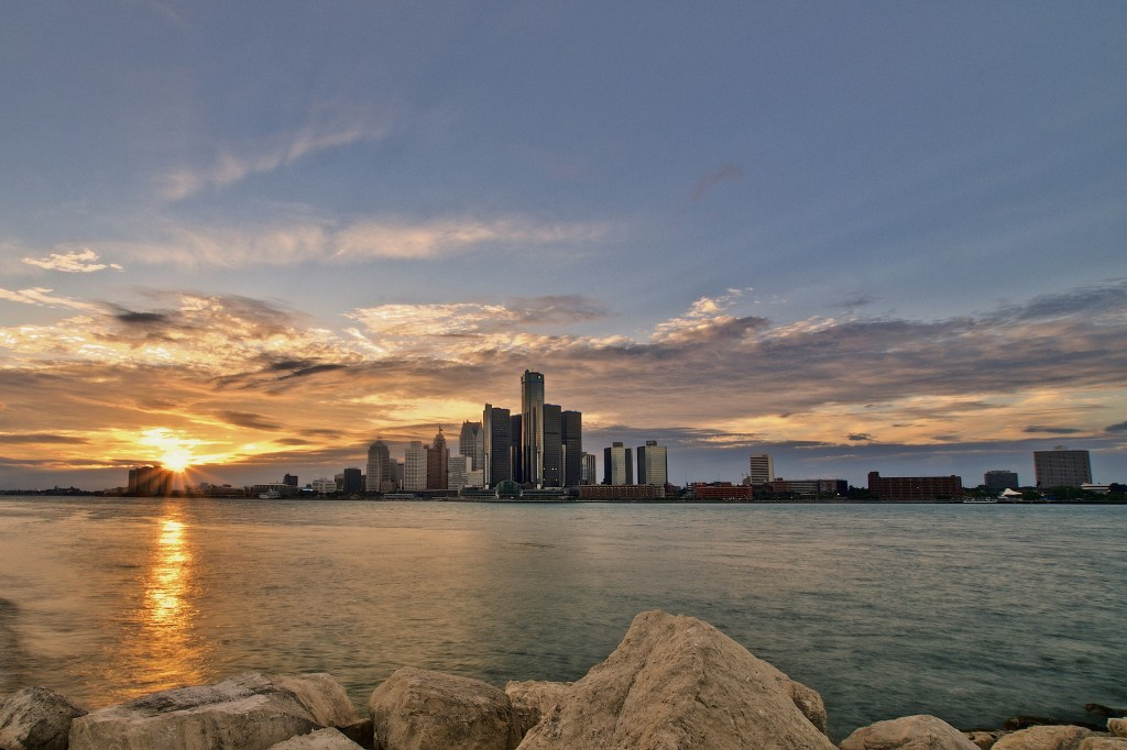 Sunset over Detroit, Michigan skyline