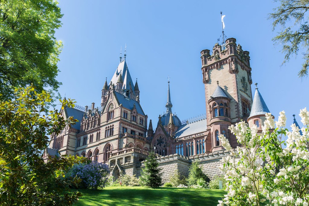 Fairy-tale like Drachenburg Castle in Germany with budding white flowers in the foreground during spring.