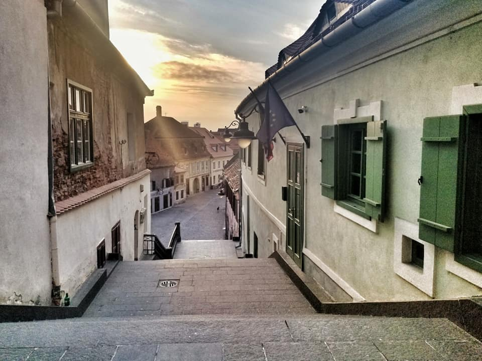 Empty stair passage in Sibiu, Romania during the lockdown