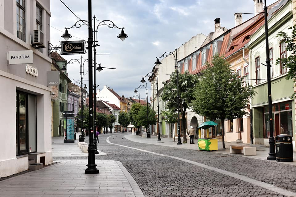 An empty street in Sibiu, Romania during the lockdown