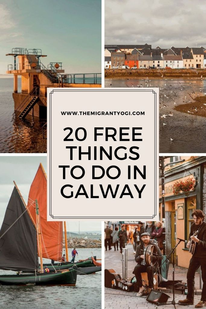 Pinterest graphic - 4 images with text '20 free things to do in Galway'.