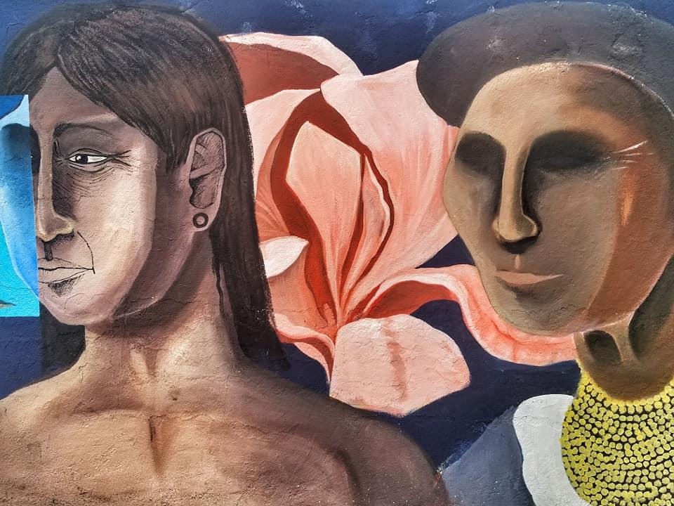 Street art featuring indigenous peoples in Quito, Ecuador