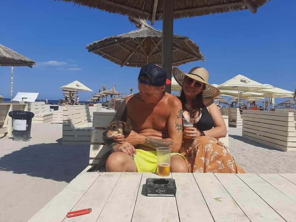 Jade, Szilard, and Andre on the beach in Vama Veche, Romania