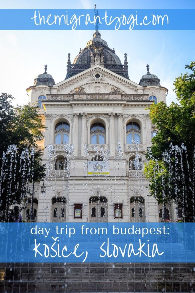 Pinterest graphic - Singing fountain in Kosice with text: day trip from Budapest - Kosice, Slovakia
