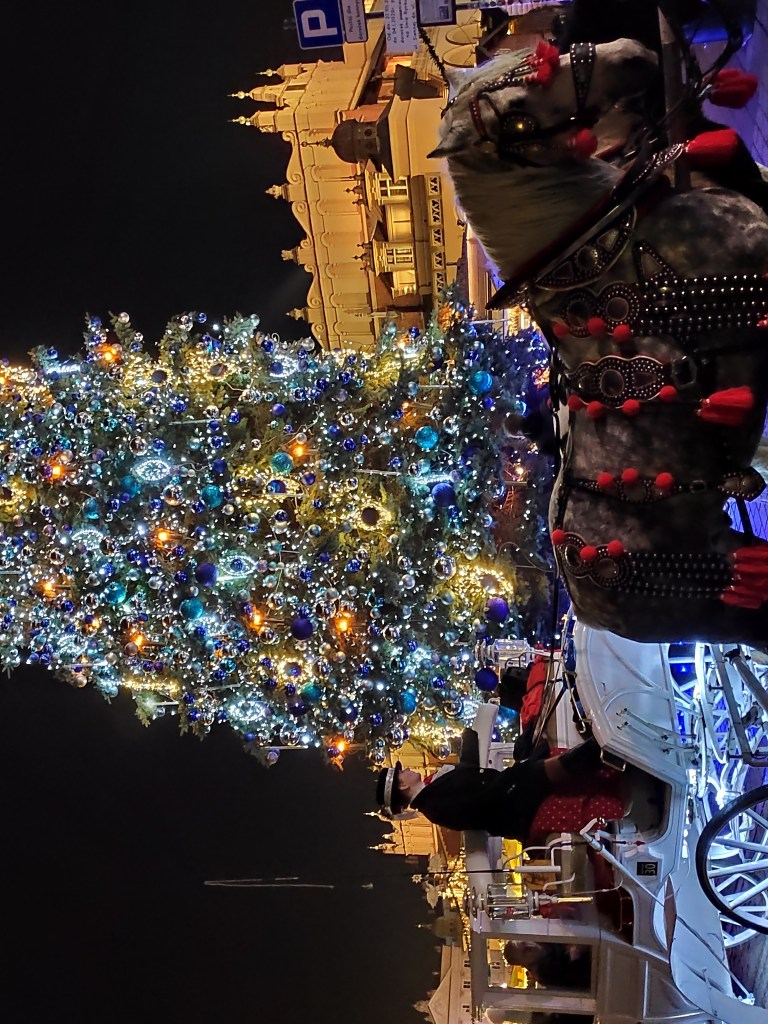 A large Christmas tree with gold and blue lights in the center of Krakow, Poland during the city's magical Christmas markets.  A horse-drawn carriage is in the foreground, a man in a top hat is driving the carriage.
