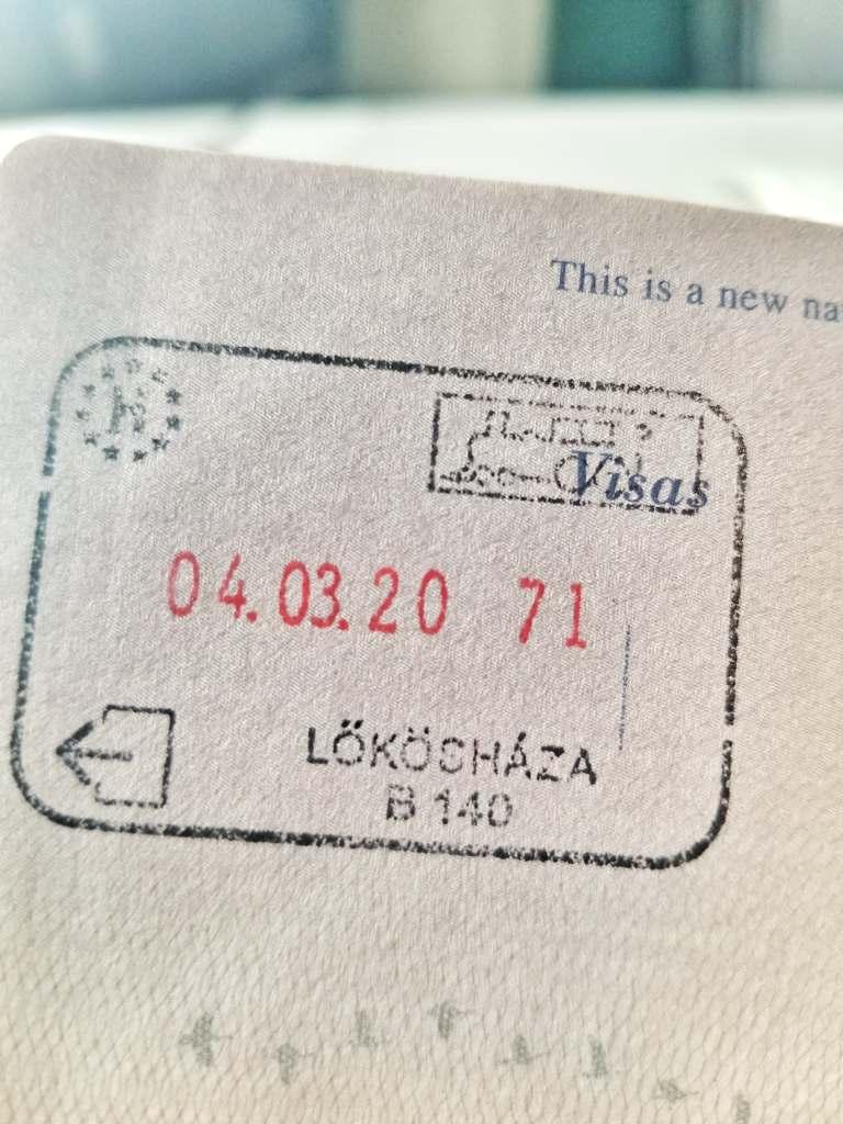 Lokoshaza stamp in passport (Hungary)