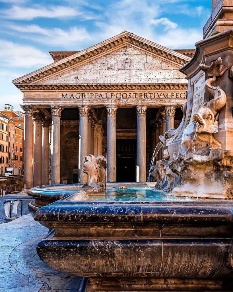 View of the Pantheon in Rome with the fountain in the foreground.