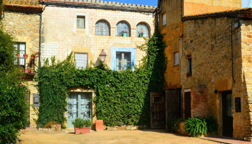 Small plaza in the medieval Catalan town of Peratallada.