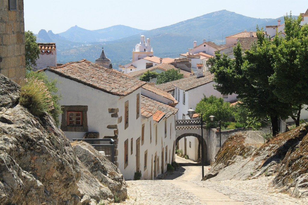 Hilly street in Portuguese village.