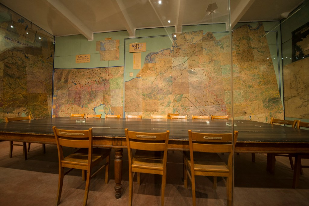 Current photo of the war room, preserved as it was when the original signing took place.