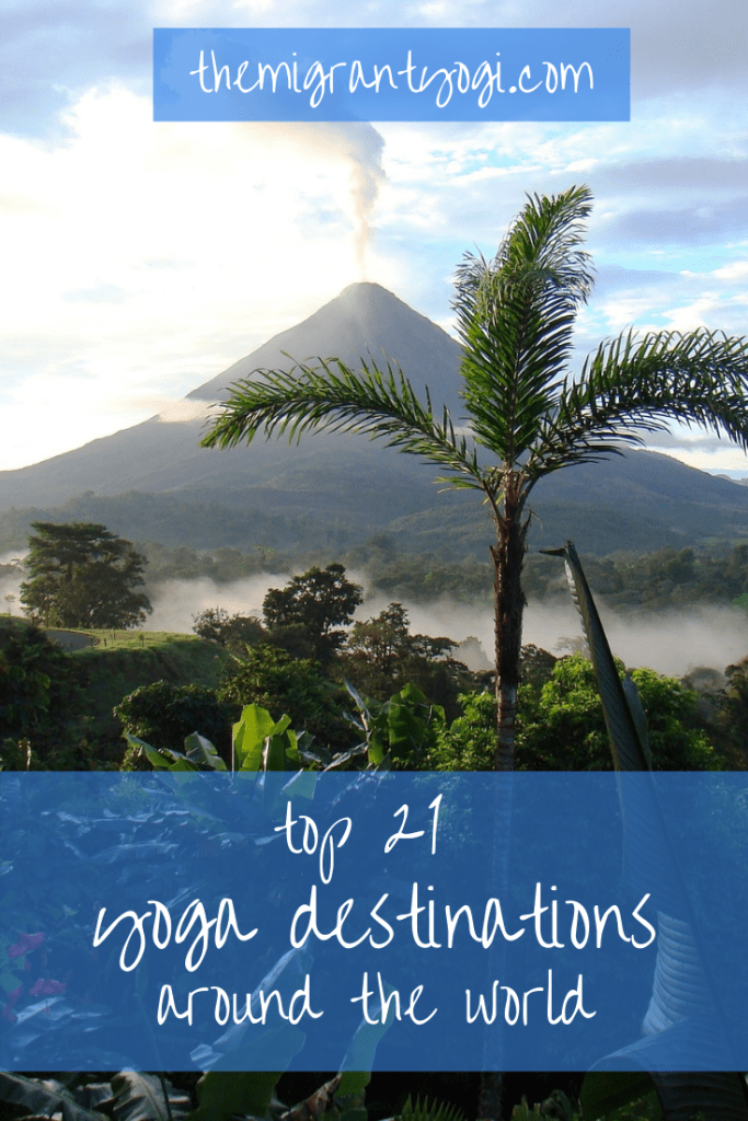 Pinterest graphic with palm trees and volcano in Costa Rica with text; 21 Best Yoga Destinations Around the World