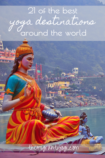"""Pinterest graphic: Large statue in India and text """"Yoga Destinations Around the world"""""""