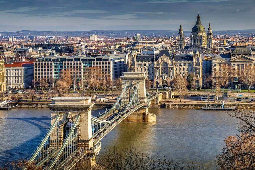 View of Chain Bridge in Budapest, Hungary, one of the best day trips to take from Vienna.