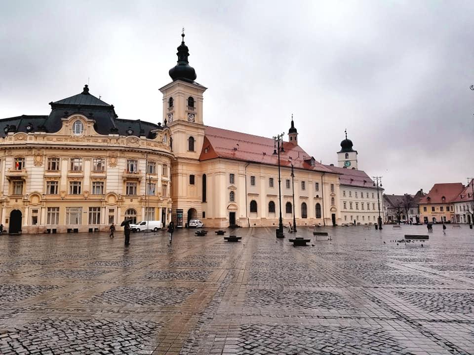 Rainy day in Sibiu, Romania, Piata Mare (Big Square).
