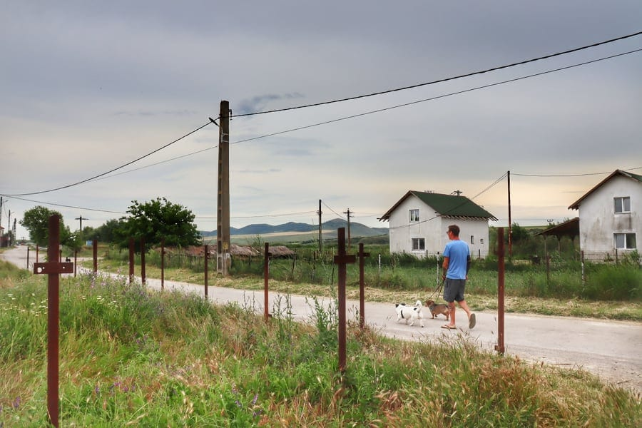 Man and two small dogs walking down a village street in Romania
