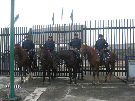Starting to realize riot police on horseback are a typical sight for a Mexican soccer game