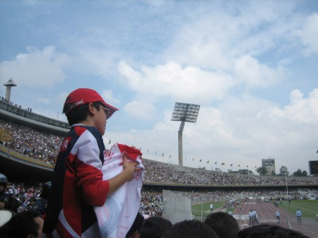 A young Chivas fan at the Pumas/Chivas soccer game in Mexico City on Sept. 27, 2009