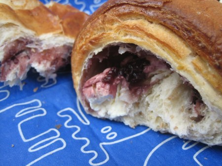 A blackberry and cream-cheese filled cuernito from Casa del Pan in Coyoacan, Mexico City