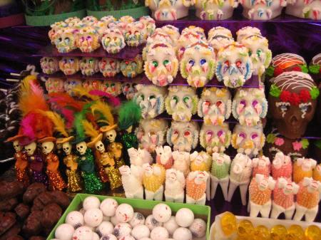 Skulls at the sugar skull market in Toluca, also known as the Feria de Alfeñique