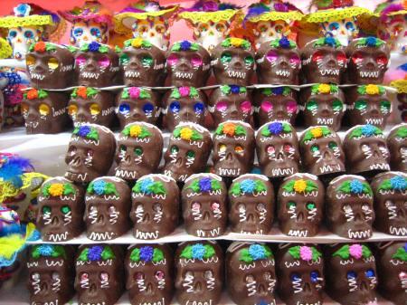 Chocolate skulls at the Feria de Alfeñique in Toluca, Mexico