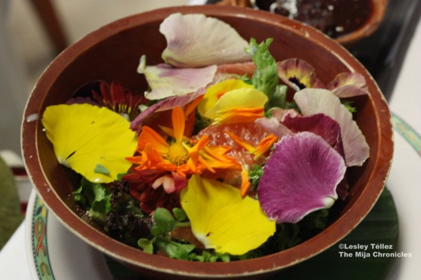 A salad of edible flowers with grapefruit, at Nicos in Mexico City.