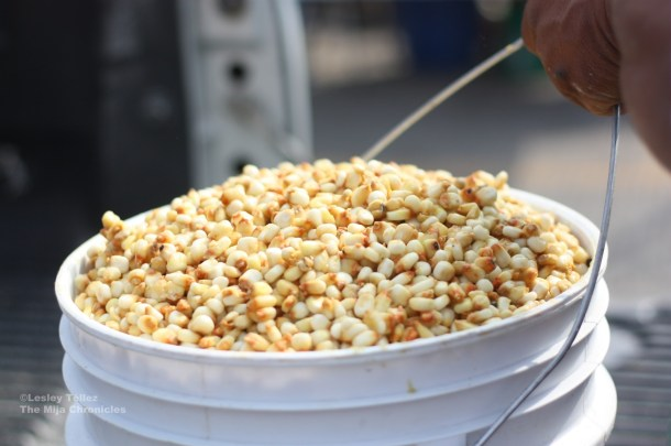 Nixtamalized corn -- that's dried corn treated with calcium hydroxide -- in Hidalgo, Mexico.