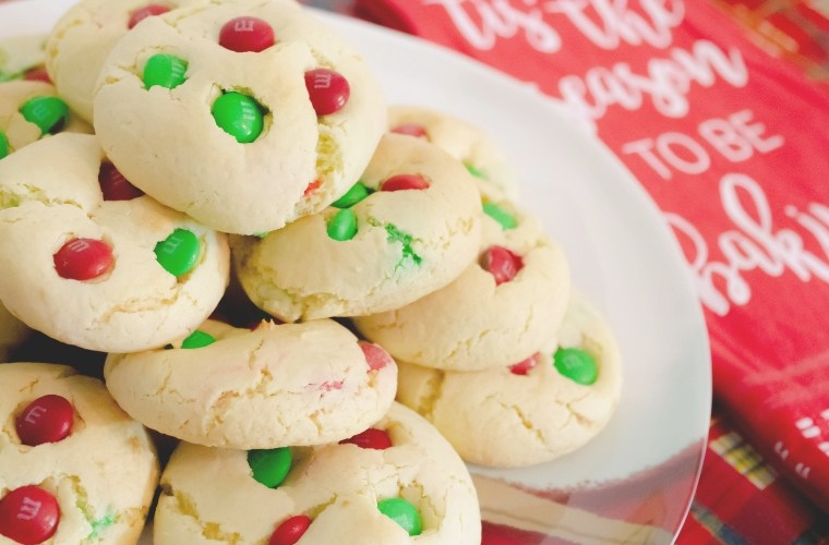 Get into the Christmas Spirit with these delicious M&M Cake Mix Christmas Cookies. They're sure to be a hit with the entire family!