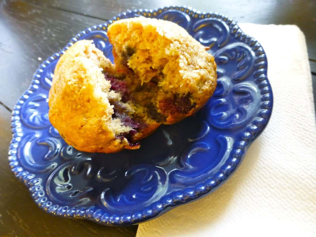 whole wheat blueberry banana muffins